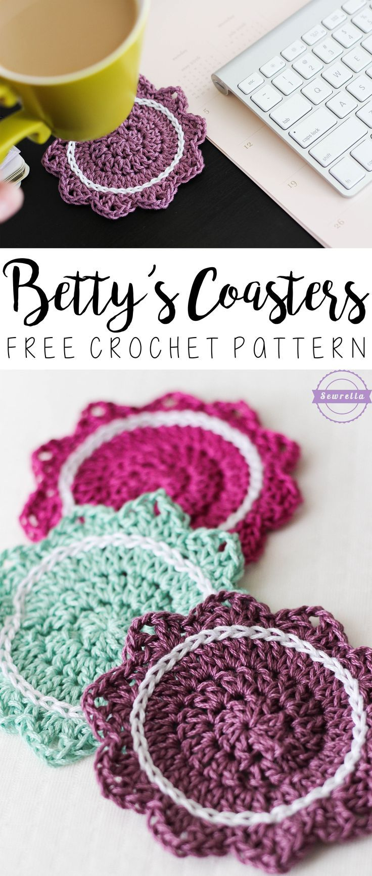 Betty's Coasters   Summer Kitchen Series   Free Crochet Pattern from Sewrella