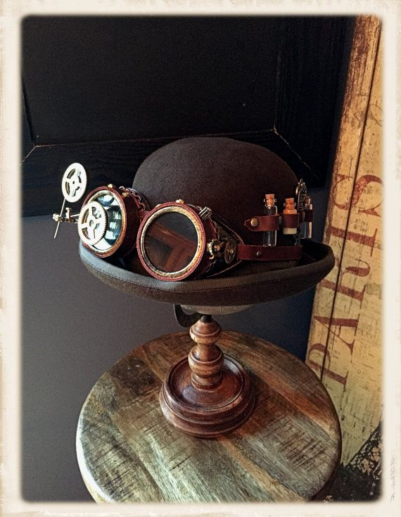 Hey, I found this really awesome Etsy listing at https://www.etsy.com/listing/466463941/steampunk-bowler-hat