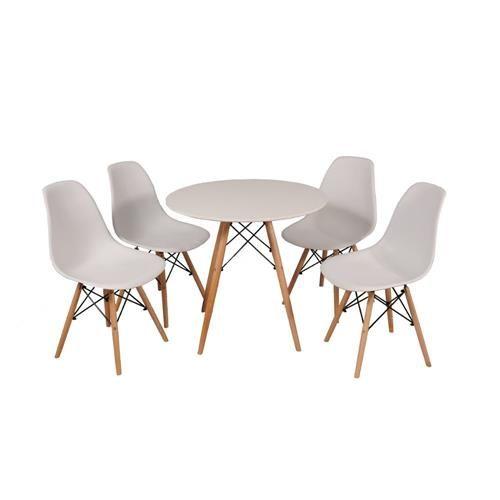 Kit Mesa Jantar Eames Eiffel 80cm + 4 Cadeiras Eames Eiffel