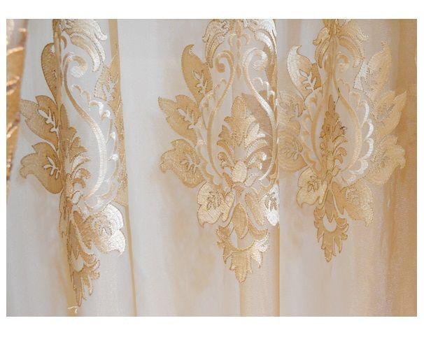 Gold Damask Embroidered Rod Pocket Sheer Curtains 96l