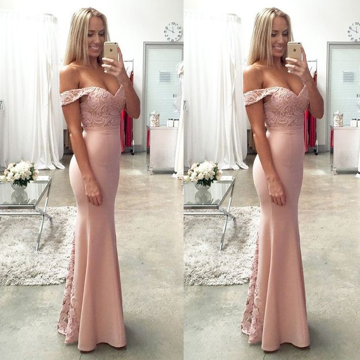Blush Bridesmaid Prom Dress with Lace Top Off Shoulder Floor-Length