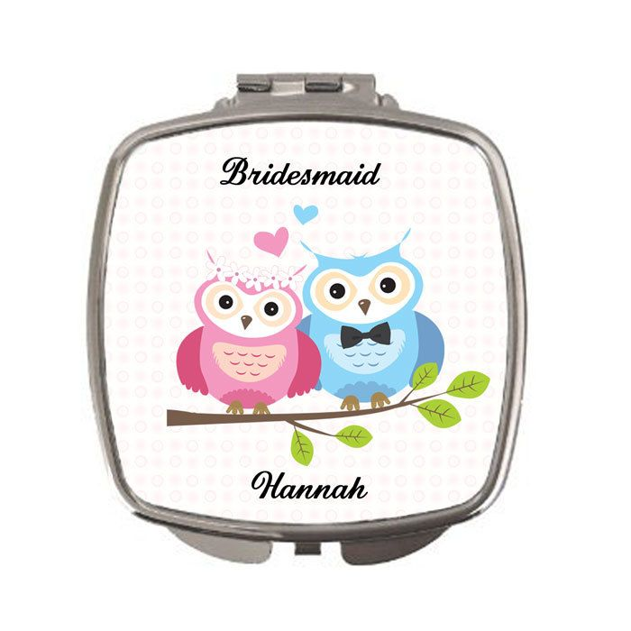 Personalised Bridesmaid thank you gift, Personalised Compact Mirror, wedding favours, gifts for bridal party by cjcprint on Etsy