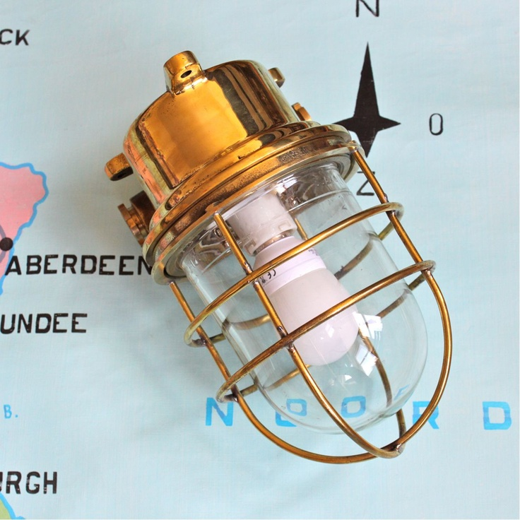 vintage ships brass bulkhead lamp - how on earth do you find these lovely things Pedlars!