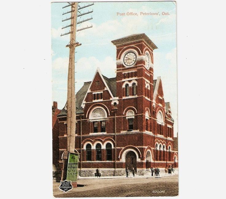 1909 Vintage Postcard Post Office Peterborough Ontario Canada.