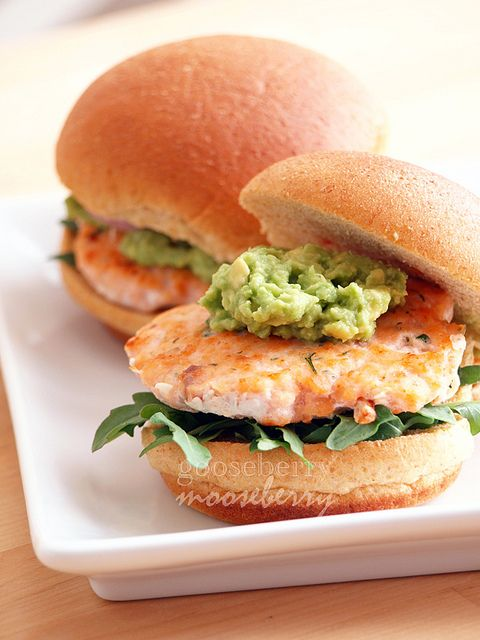 Salmon Burgers with Avocado Spread