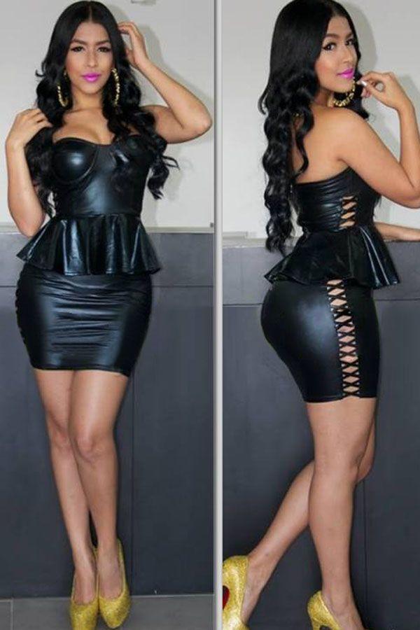 Black Strapless Leatherette Peplum Dress