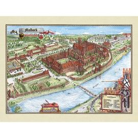 """Panoramic Map of Malbork Castle - Ilusrtowana mapa. Map of the Teutonic Order Castle, Malbork. The biggest brick castle in Europe for centuries amazes people with its construction, beauty and fine architecture. Hand drawn, very detailed maps by master artists: Szymon Kobylinski, Ruben Atoyan, Miroslaw Miadziolko. Beautifully printed in Poland on heavy stock. Size approx. 26"""" High x 32"""" Wide"""