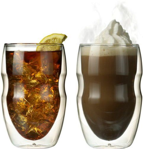 Serafino Double Wall 12 oz Beverage & Coffee Glasses - Set $28.95. i will have these