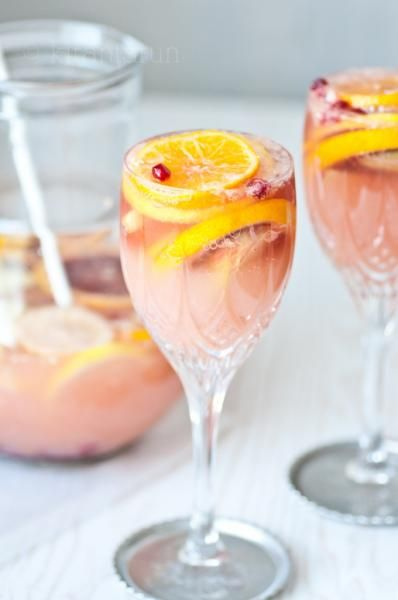 champagne sangria via kiran tarun >> Wishing I had this for later today, seems like a perfect Saturday drink...