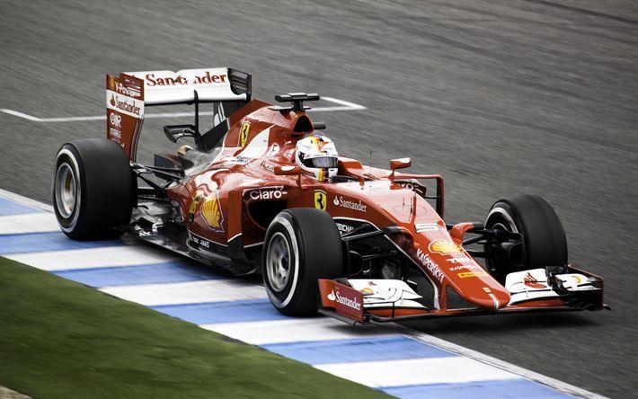 Descargar fondos de pantalla Sebastian Vettel, ferrari SF70H, la scuderia ferrari, f1, Formula 1, carreras de coches