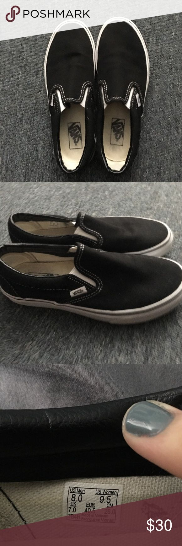 black classic slip-on vans been worn once, basically brand new. great condition Vans Shoes Sneakers