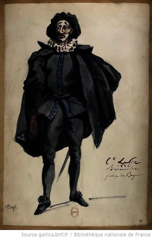 Scaramouche.   [Les jumeaux de Bergame : vingt maquettes de costumes / par le comte Lepic] Auteur : Lepic, Ludovic Napoléon (1839-1889). Dessinateur Date d'édition : 1885-1886