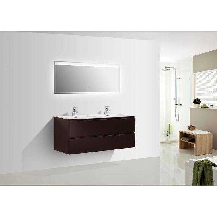 Meuble salle de bain Alice 1200 marron gris – Miroir en option: Mat, Avec armoire de toilette BS120 – BERNSTEIN
