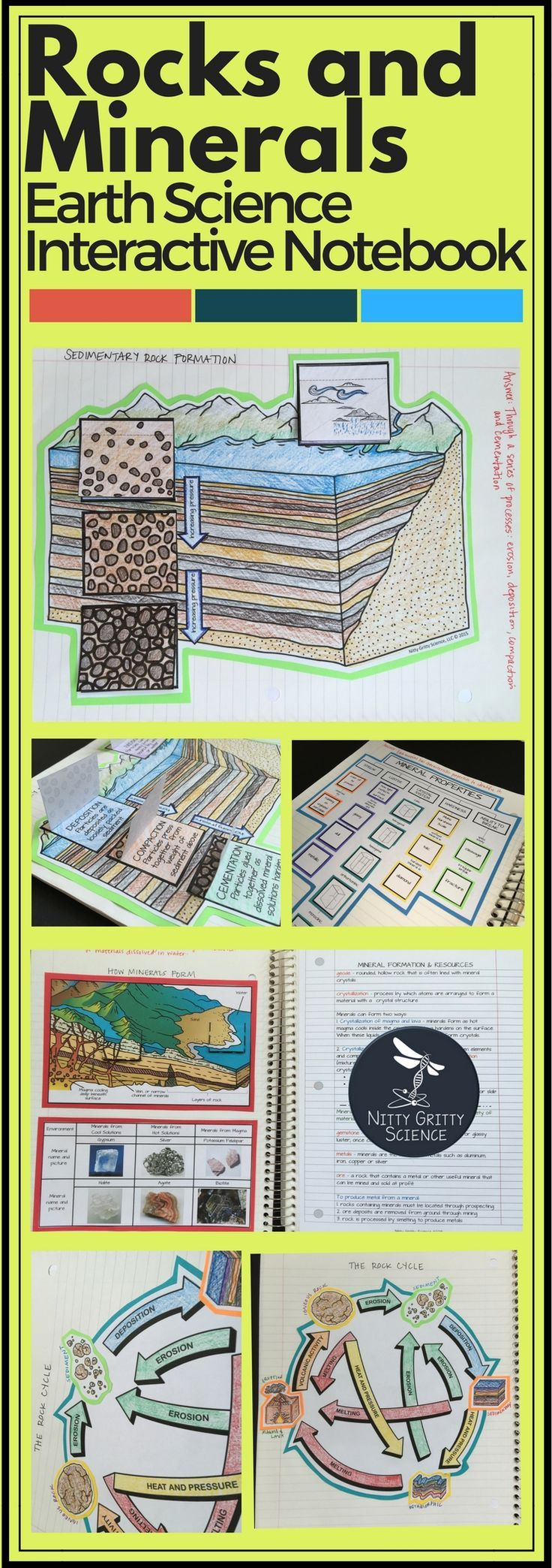 The Earth Science Interactive Notebook: Rocks and Minerals chapter showcase student's ability to: •Explain how minerals are identified •Explain how minerals form from magma and solutions •Identify and describe the three major groups of rocks •Describe the rock cycle •Describe how sedimentary rocks are formed