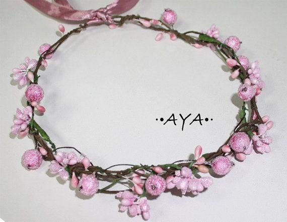 Boho flower crown rim hair first communion girl bridesmaid