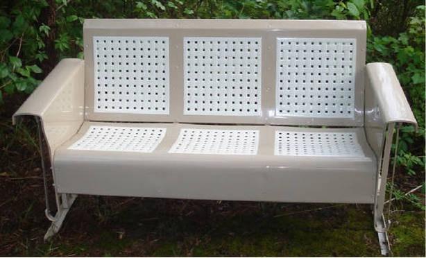 Restored Vintage Metal Porch Patio Glider by oldvintagefurniture, $1,075.00