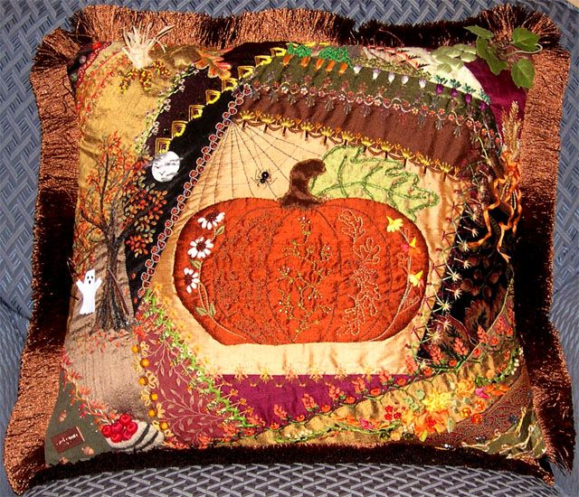 Pumpkin pillow by Janine FrancCrazy Pumpkin, Crazy Quilting, Cute Ideas, Halloween Pillows, Crazy Patchwork, Quilt Pillows, Autumn Colors, Pumpkin Pillows, Upholstery Scrap