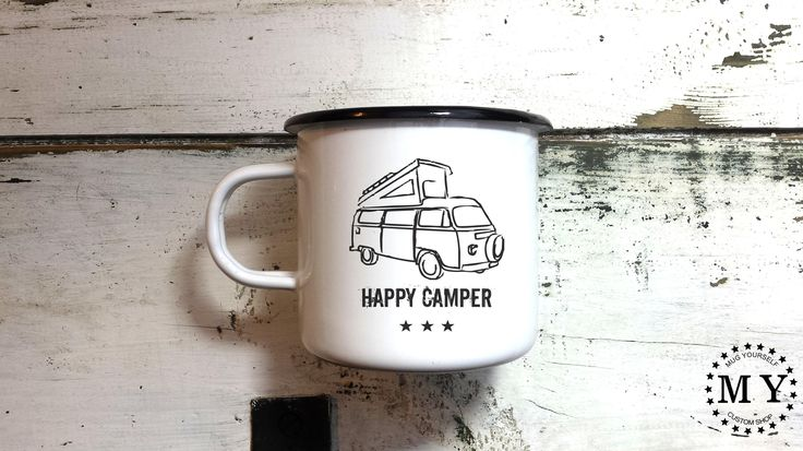 Camping Mug Enamel Mug Camp Mug Camper Mug Happy Camper Cup Handmade Engraved Mug Customized Mug Personalized Camping Mug by MugYourself on Etsy