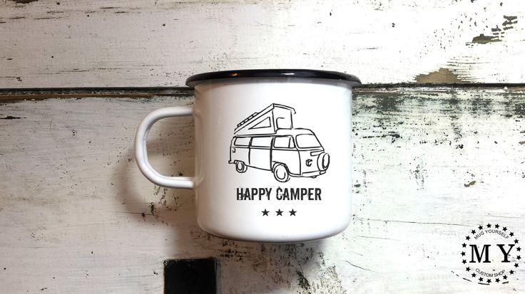 Camping Mug Enamel Mug Camp Mug Camper Mug Happy Camper Cup Handmade Engraved Mug Customized Mug Personalized Camping Mug by MugYourself on Etsy