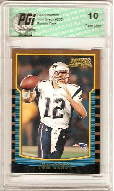 tom brady rookie card | Details about 2000 Bowman Tom Brady Patriots Rookie Card PGI 10 RC