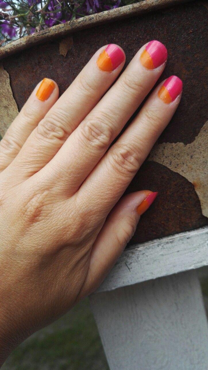 Summer nails, orange nails, pink nails