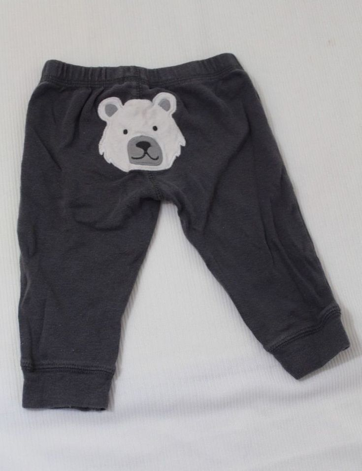 Carters Infant boys Gray Sweatpants Size 6 Months Polar Bear Face on Butt #Carters #Pants #Everyday
