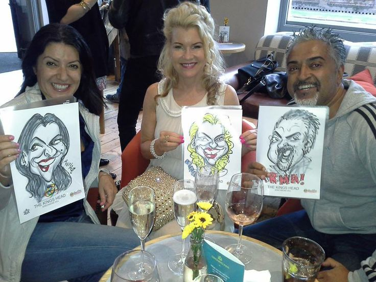 THE RELAUNCH of the newly refurbished King's Head in Winchmore Hill was the venue for another round of live caricatures as there guests' prime source of entertainment.