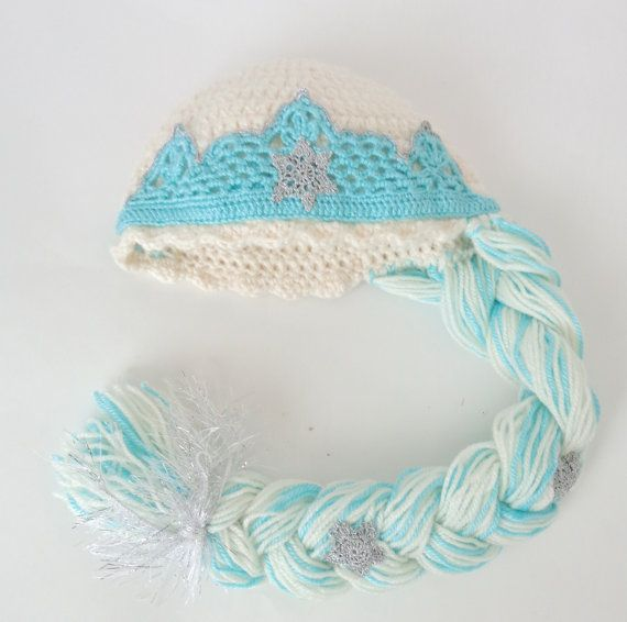 Elsa Frozen Crochet Hat  With Crown - Disney Princess Queen Hat Crochet Wig - Choose your color and size