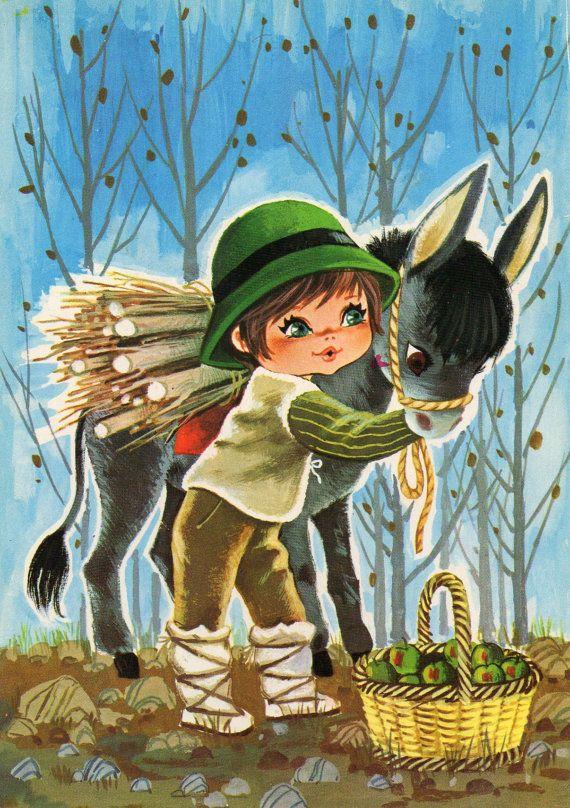 Garçon de gros yeux vert Vintage carte postale des années 70 et un âne