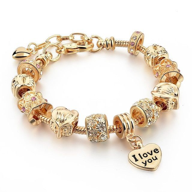 Heart Charm Bracelets & Bangles Gold Bracelets For Women DIY Famous Brand Jewellery #GoldBracelets