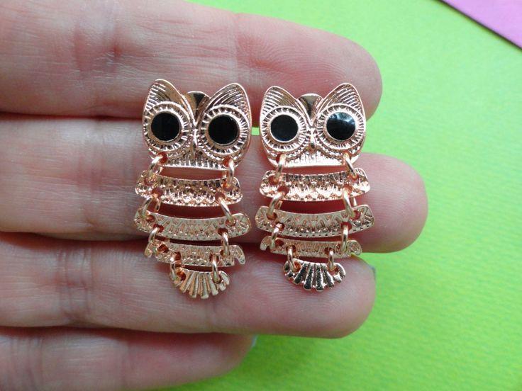 Rose gold chain body owl earring