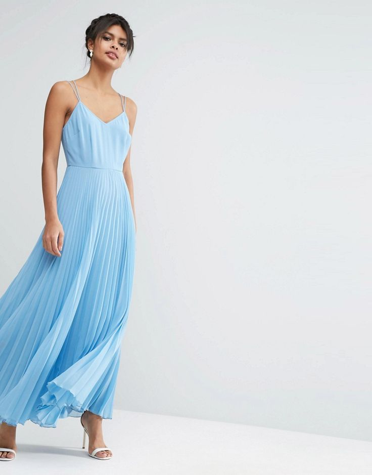 Image 1 ofASOS Woven Cami Maxi Dress With Pleated Skirt