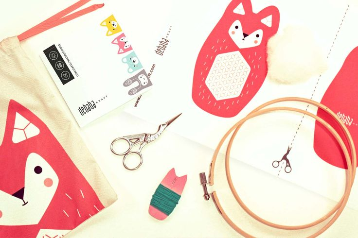 FOX DIY embroidery kit - contains all tools: digital printed fabric, needles, stuffing, instruction, embroidery threads, embroidery hoop, scissors. The result is a loveable cute toy. #diy #embroidery #kit #fox #sew #cute #decoration #toy #kids #craft