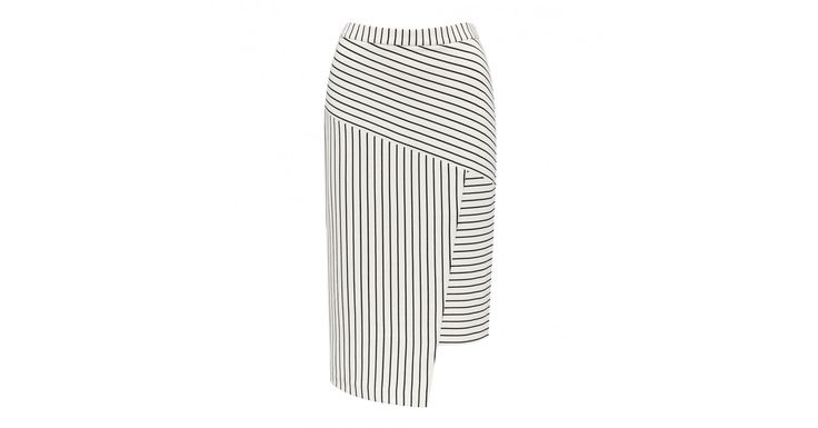 From daytime chic to evening glamour, discover our Sandra Spliced Stripe Skirt, set to be your newest wardrobe staple.