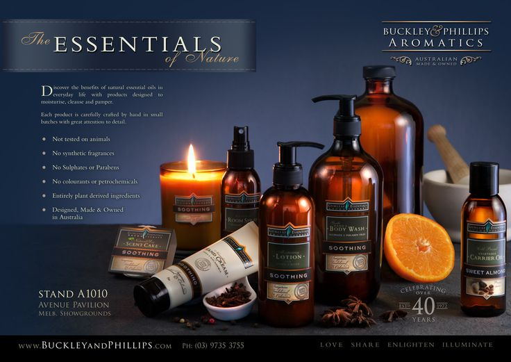 Aromatherapy products - Double page spread inside cover ad in the Home & Giving Fair magazine. Melb Aug 2014