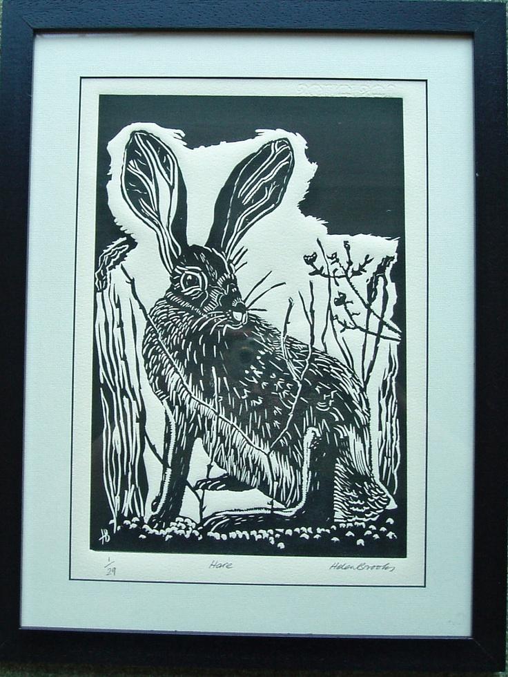 Hare - lino print. By SilkenTentPrints via Etsy.