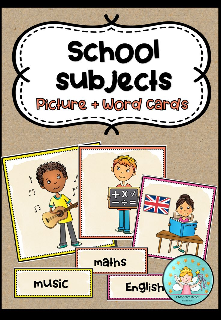 school subjects  picture  word cards