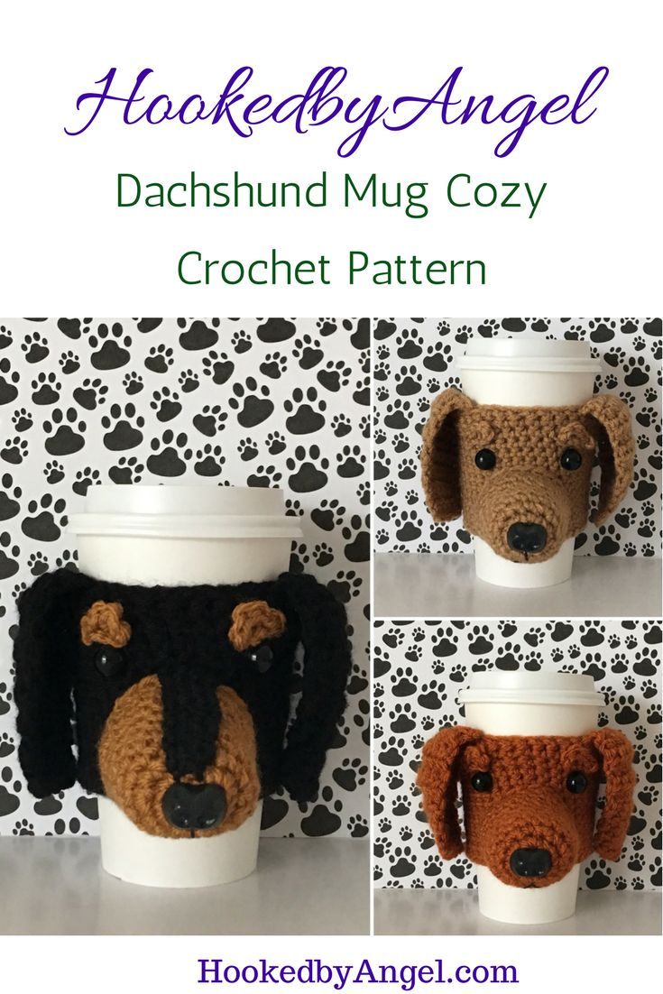 """Because what #dachshund lover doesn't want their dog on their mug?! This pattern includes lots of pictures and """"Angel's Tips"""" to make it easy to make. You will never have so much fun crocheting."""