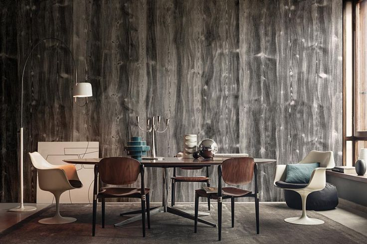 2015 contemporary wallpaper - Wood effect wallpaper living room ...