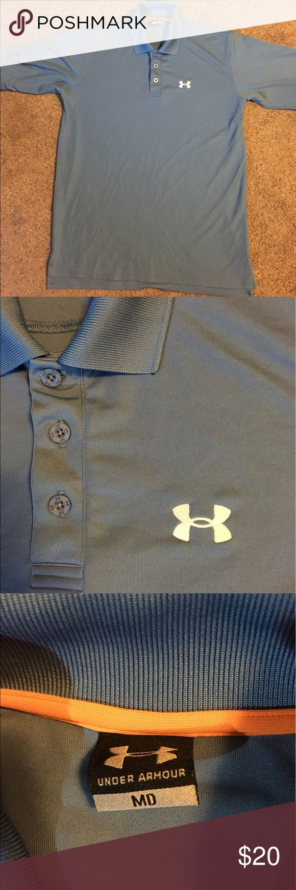‼️ FLASH SALE ‼️‼️Under Armour Polo FLASH SALE PRICE‼️ get it before it's gone! Under Armour golf polo in a light blue, excellent condition with little signs of wear. It's a loose fit medium. Under Armour Shirts Polos