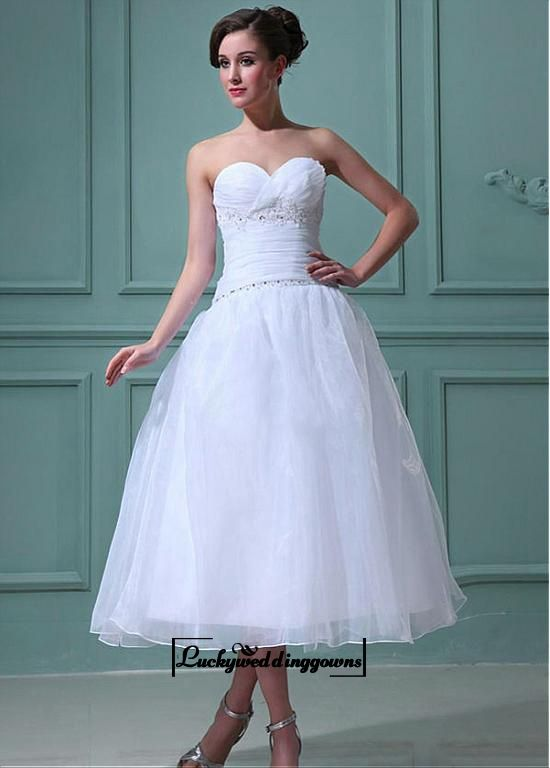 Attractive Organza & Satin A-line Sweetheart Empire Waist Tea Length Wedding Dress