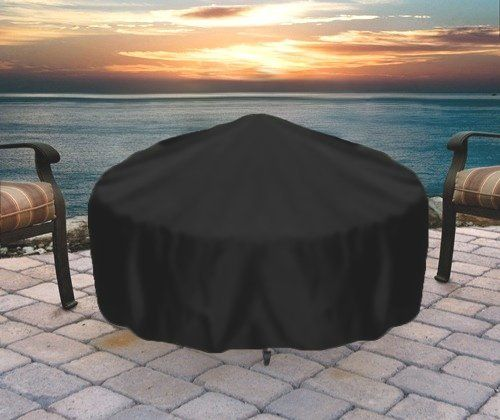 """40"""" Fire Pit Cover by Outdoor Classics. $28.99. Drawstring & toggle for secure fit. Dimensions: 40"""" in diameter and 18"""" high. Heavy Duty Reinforced Vinyl. 100% waterproof and UV resistant. Protect fire pit from rain and snow. Protect your fire pits from the elements with this 40"""" round fire pit cover."""