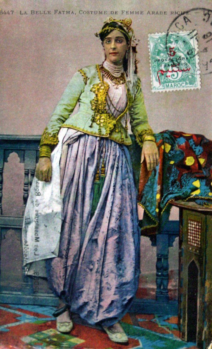 "Africa | ""La Bella Fatma.  Costume de Femme Arabe Riche.   Post stamped 1916 || Vintage postcard; publisher LL.  No 6447   |||  Source ~ http://www.ebay.fr/itm/CPA-MAROC-6447-belle-fatma-Costume-de-femme-arabe-riche-Colonial-/161342025840"