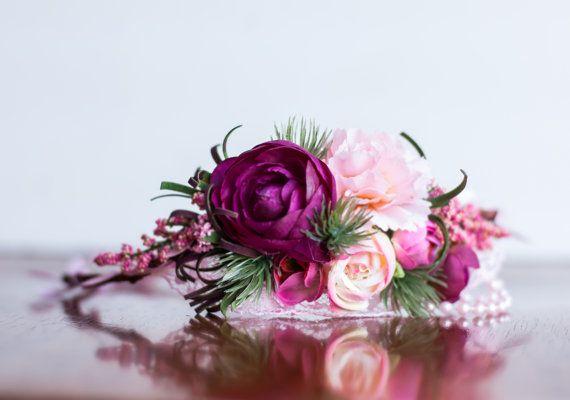 Flower Crown - Flowergirl hairpiece - Rose Wedding - Newborn Photo Prop - Wedding Crown - Floral Hairpiece
