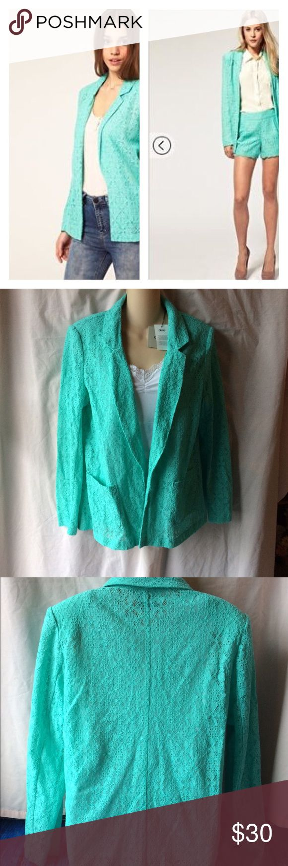 """ASOS Candy Mint Green Lace Jacket US 10 NEW Brand new pretty lace blazer by asos. Size Us 10, U.K. 14. 81% cotton, 19% polyamide. Approximate measurements are; 18"""" across lightly padded shoulders, 25"""" sleeves, 40""""across chest, 27"""" long. No trades. ASOS Jackets & Coats Blazers"""