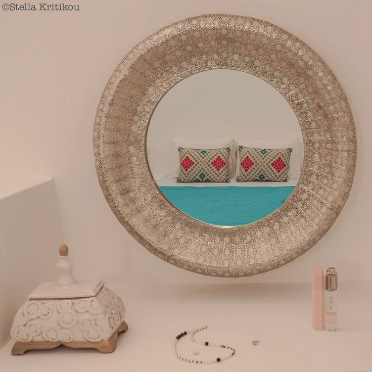 luxurious mirror, bedroom detail, private villa, mesaria, santorini