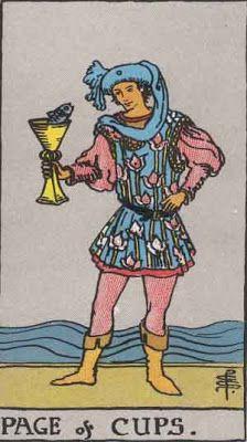 """El Tarot: Libro Abierto: copas esta carta se la conoce como """"la carta del cortejo""""  indica que alguien intenta ganar nuestro amor o afecto. Generalmente persona más joven q nosotros,por lo que a veces simplemente indica la llegada de un hijo a la familia. Cartas de amor, regalos, disculpas después de una discusión. Intuición y sensibilidad usadas sabiamente.Rachel Pollack también indica que el consultante o alguien en su entorno puede tener poderes psíquicos que tiene que manifestar o usar."""