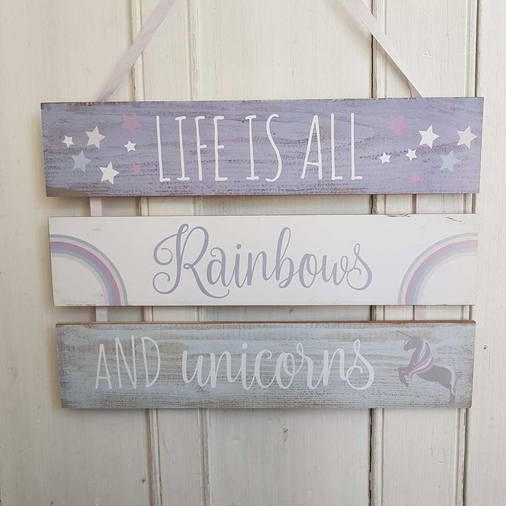 LIFE IS ALL  RAINBOWS AND UNICORNS CHIC N SHABBY TRIPLE WALL PLAQUE via Bluelake Interiors. Click on the image to see more! #Unicorn #Unicorngifts