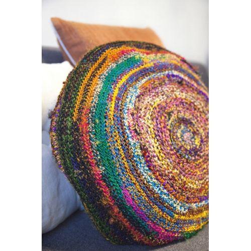 Sari Roundi cushion by TIKAU / Material: Recycled sari silk / Diameter about 45 cm / Polyester filling