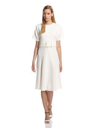 -49,850% OFF DEREK LAM Women's Bonded Short Sleeve Dress with Belt (White)